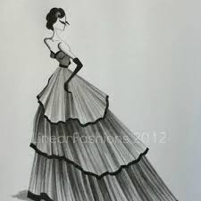 fashion illustration original drawing from linearfashions on etsy
