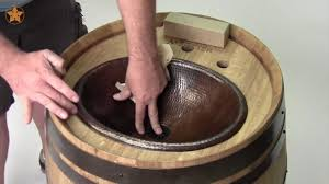 how to install a surface mount copper sink into a wine barrel