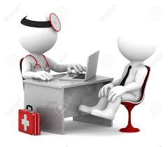 blanc au bureau docteur de consultation médicale et le patient parle au bureau