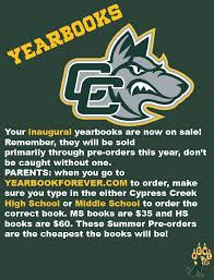 high school yearbooks for sale yearbook pre sale cypress creek middle high school