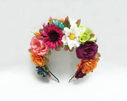 day of the dead headband day of the dead headpiece frida kahlo flower crown mexican