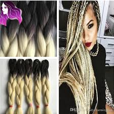 ombre human braiding hair synthetic braiding hair 24inch ombre color blonde extensions