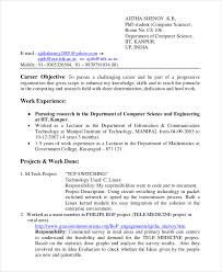 Work Experience In Resume Sample by Computer Science Resume Template 7 Free Word Pdf Document