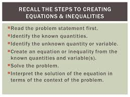 recall the steps to creating equations inequalities