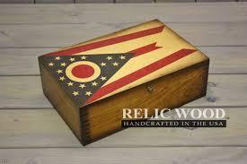 Ohios State Flag Ohio State Flag Wooden Memory Box