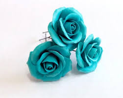 turquoise roses turquoise roses large wedding hair accessories bohemian