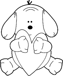 puppy hugging heart dog puppy coloring page wecoloringpage