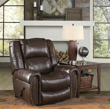 lay flat recliner in tobacco leather by catnapper 4660 7