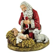 home interior jesus figurines loretto chapel rmn kneeling santa with baby jesus and lamb