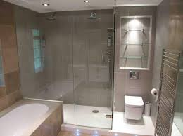Painting Shower Door Frame Exposed Grey Brick Wall Frameless Mirror With Invisible Light