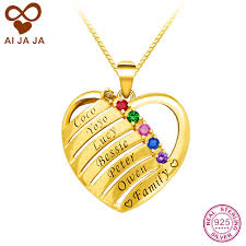 gold engraved necklace aliexpress buy aijaja 925 sterling silver heart shape