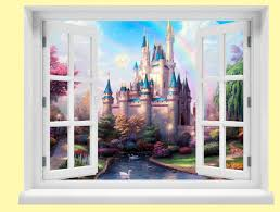 window with a view disney fairytale castle wall mural like this item