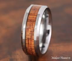 wood mens wedding bands tungsten koa wood inlaid mens wedding band 8mm makani hawaii mens
