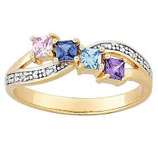 rings with birthstones 18k gold plated sterling silver s square family birthstone