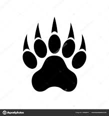 paw print with claws tiger paw footprint vector