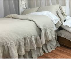 natural linen duvet cover with mermaid long ruffle handcrafted