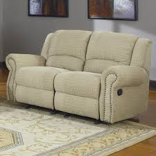 khaky canvas fabric upholstered loveseat with reclining and panel
