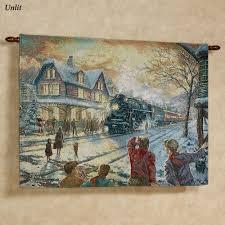 thomas kinkade all aboard for christmas lighted wall tapestry all aboard for christmas wall tapestry multi warm
