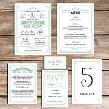 Wedding Invitation Sets Printable Rustic Mint Wedding Invitation Set Invitation Set
