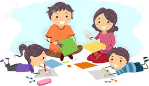 illustration of a family making paper crafts together stock photo