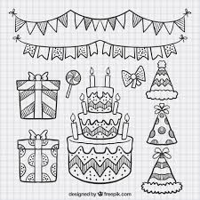 set of cake sketches and birthday elements vector free download