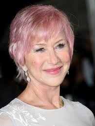 short hairstyles for over 70 helen mirren short pink haircut with bangs for women over 70