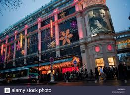 paris france christmas decor printemps department store front