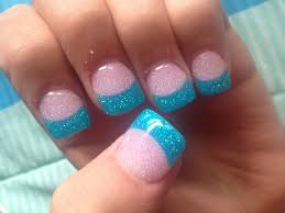 gel nail with glitter pink and glitter sky blue jazzy nails