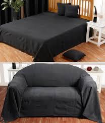 jeté canapé homescapes jeté de lit ou jeté de canapé noir 230x260cm