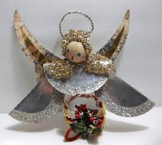 vintage german angel christmas tree ornament wood head foil paper