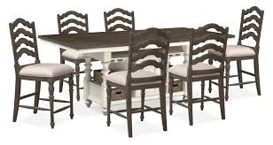 charleston counter height dining table and 6 stools gray and