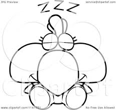 cartoon clipart of a black and white sleeping rooster
