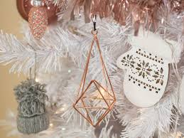 white tree with stylish gold and pink decorations
