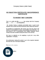 no objection letter for employee no objection certificate