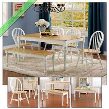 dining room set with bench 6 pc farmhouse dining room set table bench chairs country wood