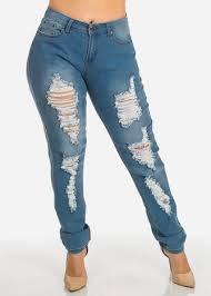 Light Blue High Waisted Jeans Plus Size Jeans Cheap Trendy Jeans For Plus Size Women