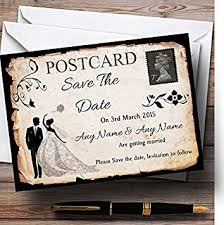 vintage save the date black white vintage rustic postcard personalized