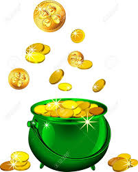 st patrick s day shiny metal pot filled with leprechaun gold