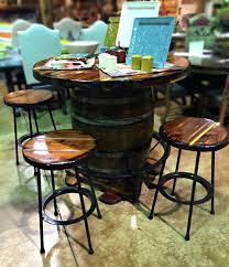 whiskey barrel bar table whiskey barrel pub table with barstools santa fe company okc whiskey