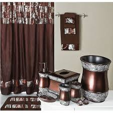 Shower Curtains With Matching Accessories Elite Sequined Bronze Shower Curtain And Bath Accessories