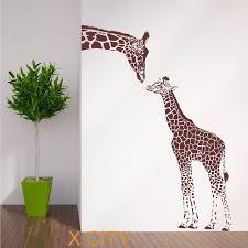 pochoir chambre girafe et bébé africain animaux wall sticker vinyle decal