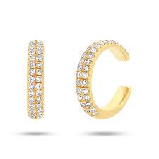 diamond ear cuff 14k yellow gold diamond ear cuff earring 0 21ct