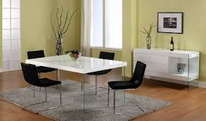 Glass Top Dining Table And Chairs White Lacquered Dining Table W Glass Legs U0026 Optional Chairs