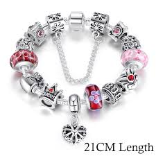fashion jewelry charm bracelet images Bamoer queen jewelry silver charms bracelet bangles with queen jpg
