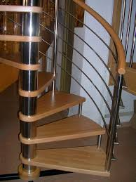 Stairs Without Banister Spiral Staircase Wooden Steps Stainless Steel Frame Without