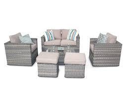 bahia 6pc rattan garden sofa set with footstools natural