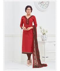 red color cotton jacquard unstitched dress material salwar suit