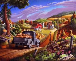 painting farm folk thanksgiving pumpkins rural country