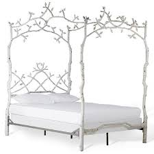 Bed Frame White White Iron Trees Bed Frame