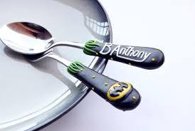 personalized childs flatware set for boy batman logo toddler